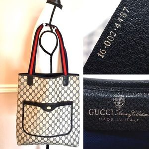 Authentic Gucci tote navy & grey coated canvas